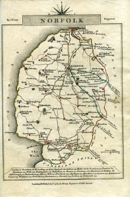 Norfolk County Map by John Cary 1790 - Reproduction